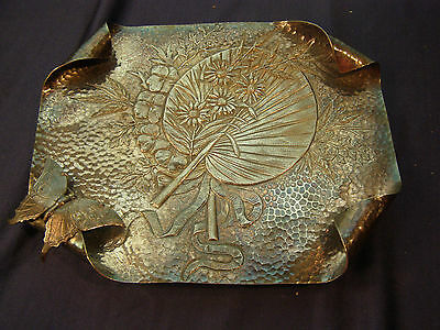 American Butterfly & Fan Calling Card Receiver Tray James W Tufts Quad Silver