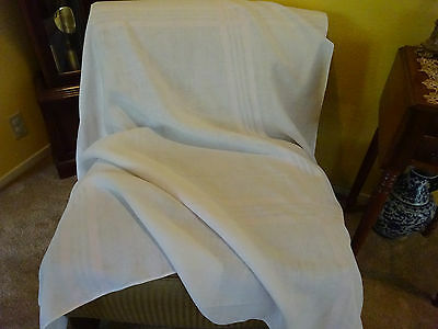 Vintage Antique HAND WOVEN LIGHT PINK STRIPE  LINEN Tablecloth 61x58-Chic Shabby