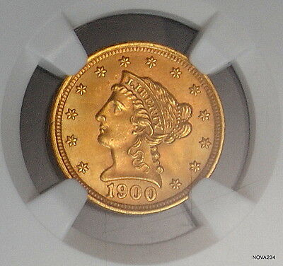 1900 $2.5 Gold Liberty Head Quarter Eagle Ngc Ms-65  *awesome Eye Appeal*
