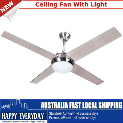 """52"""" Silver Stainless Steel LED Ceiling Fan with Remote Control Indoor Home AU"""