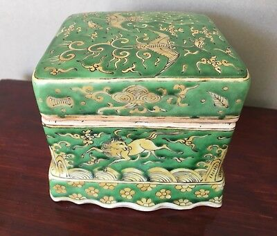 WANLI MING HORSE / PHOENIX  BOX & COVER  Antique Chinese Porcelain MARK & PERIOD