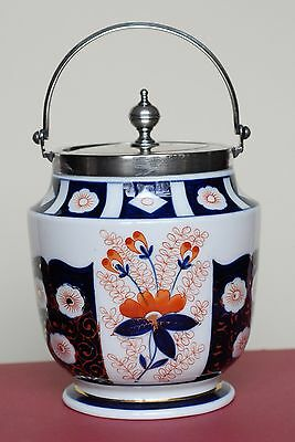 Antique Victorian Porcelain Imari Cracker / Bisquit Jar, S.p. Lid & Handle