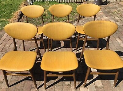 Six Eames era Parker Style Retro 50's 60's Dining Kitchen Chairs Gold No Reserve