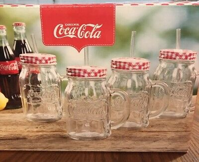Coca Cola 4pc Mason Jar Glass Mug Set w/ Red/White Checkerboard Lid New In Box!