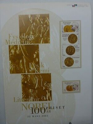 2001 Sweden USA joint issue 100 year anniversary Nobel prize stamps