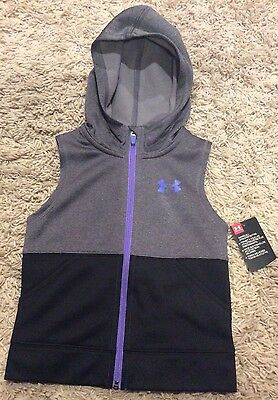 Under Armour Girls Size 5 NWT Gray Full Zip Polyester Vest