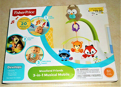 NIB Fisher-Price Woodland Friends 3-in-1 Musical Mobile