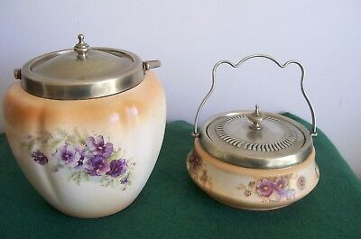 antique  devon ware ceramic & silver plate biscuit barrel & sugar bowl