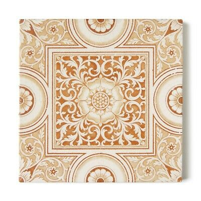 Antique Tile Victorian Aesthetic Minton China Works Floral Caramel Brown White