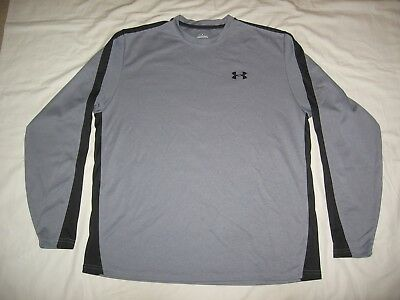 Under Armour Men's Gray Black Trim Long Sleeve Athletic Loose Shirt Size L