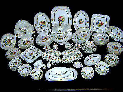 LAST ONE! 130pc NEW CZECH BOHEMIA THUN CHINA BERNADOTTE 3-GRACES DINNER SET / 12