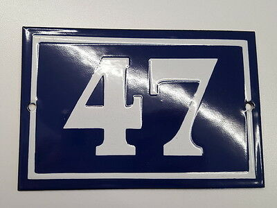 ANTIQUE FRENCH ENAMEL HOUSE NUMBER SIGN Door gate plaque street plate 47