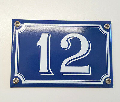 Vintage enamel HOUSE NUMBER SIGN 12 Blue and white French plaque
