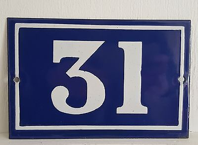 ANTIQUE FRENCH ENAMEL HOUSE NUMBER SIGN Door gate plaque street plate 31