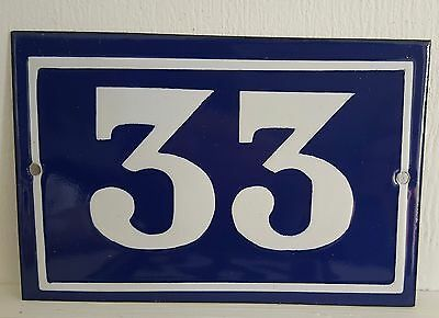 ANTIQUE FRENCH ENAMEL HOUSE NUMBER SIGN Door gate plaque street plate 33