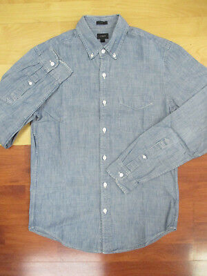 J.Crew Slim Fit Blue Button Front Long Sleeve Chambray Shirt - Small