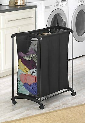 Laundry Basket On Wheels With 3 Section Rolling Cart Clothes Storage