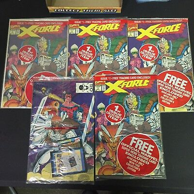 X-Force #1 Lot 5 Complete Sealed Trading Cards Deadpool Cable Marvel Comic Book