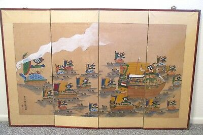 Korean Japanese Chinese Hand Painted Screen Dragon Boats Turtle Ships Painting