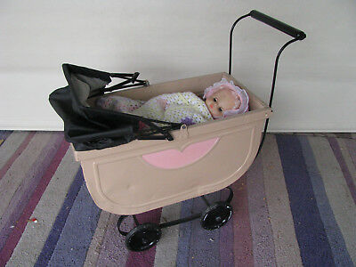 Vintage Mid~century Metal Doll's Pram With Adjustable Hood
