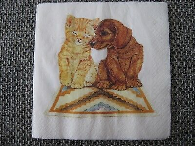 1 Serviette / napkin Hund und Katze 2-lagig dog and cat 2-ply