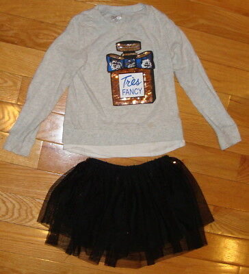 CUTE! Justice Outfit Size 6~EUC~Long Sleeve Top and Sequin Black Skirt~