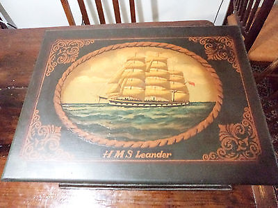 Hand Painted Nautical Battleship Lidded Chest Box Trunk HMS Leander