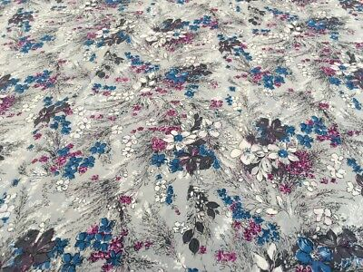 Vintage 1940s Floral Rayon Silky Frock Fabric - Grey, Pink & Blue 235 x 88cm 'A'
