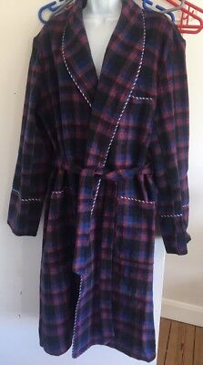 Vintage Wool Dressing Gown Robe Check Plaid Tartan