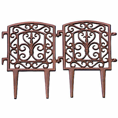 """ Set of 2 Garden Bed Border Cast Iron "" 2 Pcs Flower Fence"