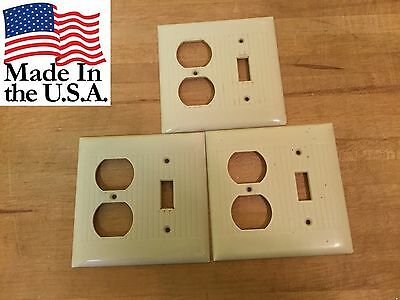 3 vtg Ivory Plastic Deco Ribbed Sierra Double Toggle OUTLET Switch plate Cover