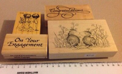 Quality Wood mounted rubber stamp Engagement Card Scrapbooking Craft