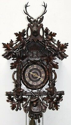 Antique Black Forest (33.5) Great Carved G.h.s. Cuckoo/quail Clock