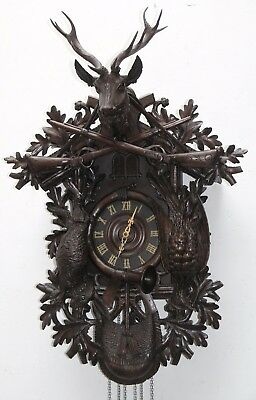 Antique Black Forest (41.5) Great Carved Musical Cuckoo Clock