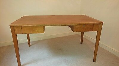 Retro 1950's Military Oak 2 Drawer Writing Table / Desk