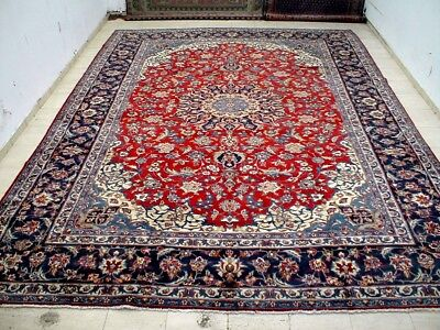 10X14 1960s EXQUISITE PALACE SIZE EXCELLENT HAND KNOTED WOOL ISFAHAN PERSIAN RUG