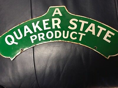 Quaker State Double  Sided Porcelain Sign -old