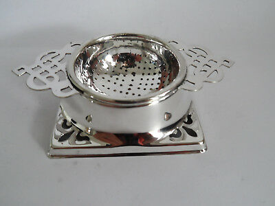 Vintage  Silver Plate Tea Strainer &  Stand Pierced Decoration Handles Gleaming