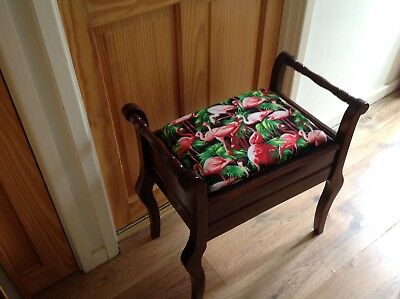 Piano stool reupholstered in a beautiful flamingo print material shabby chic
