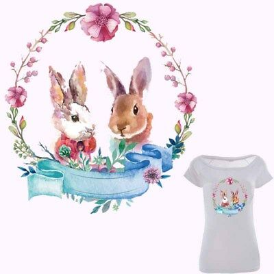 Heat Transfer Cute Rabbit Patch Iron On Patches For Clothes DIY Decor Printing