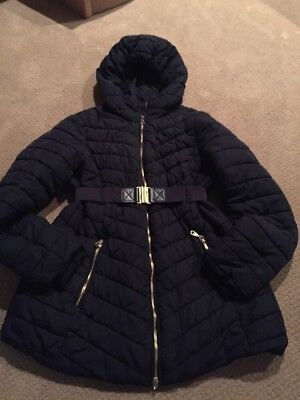 H&m Womens Navy Puffy Jacket Winter Coat Small Belted Hood Warm Mama Maternity