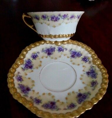Limoges Hand Painted Violets with Gold Beading cup and saucer