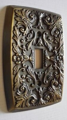 ~1 Vtg.~Ornate Brass~Single Light Switch Plate Cover ~