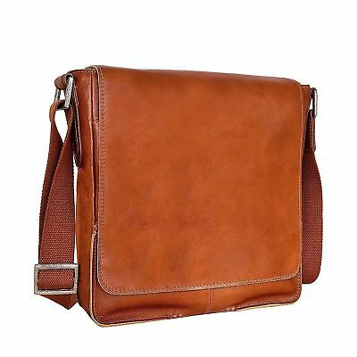 HIDESIGN FM-001 Fred Leather Business Laptop Messenger Cross body Bag Tan Und...
