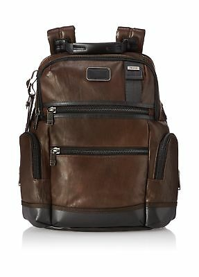TUMI Alpha Bravo Knox Leather Backpack Dark Brown One Size