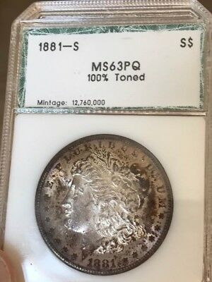1881s Morgan Silver Dollar PCI Green Holder Toned with beautiful color!