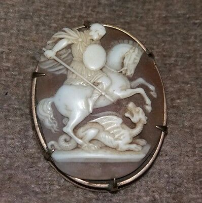 Rare Intaglio Style Cameo St.george & The Dragon Brooch Stunning Quality
