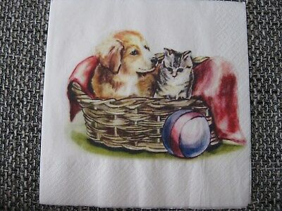1 Serviette / napkin süße Hund und Katze 2-lagig cute cat and dog 2-ply