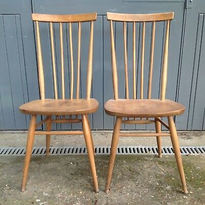 Vintage Pair of Ercol 608 Chairs blonde