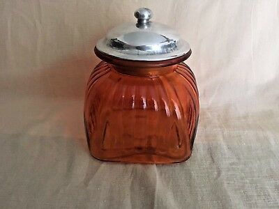 VINTAGE GLASS Biscuit Biscotti Cracker Jar ~ Air Tight ~ Orange Glass ~ Excellen